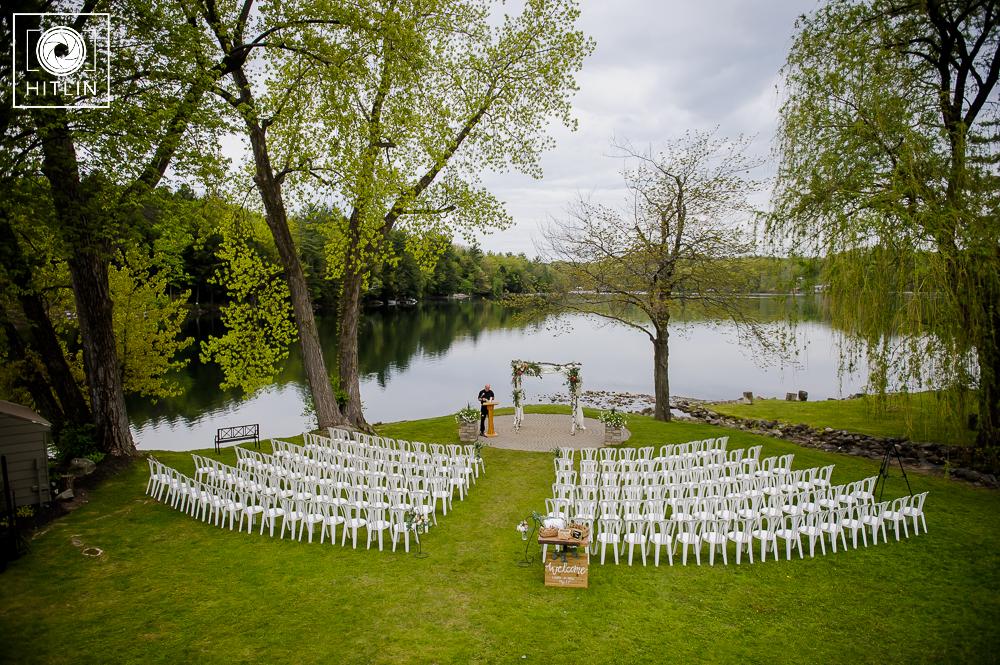 old daley on crooked lake wedding ceremony photo